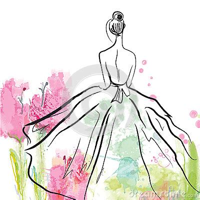 937 Abstract And Flower Dress Import Fashion In Beautiful Dress Sketch Stock Vector