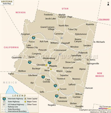 arizona state in usa map arizona state map az state map