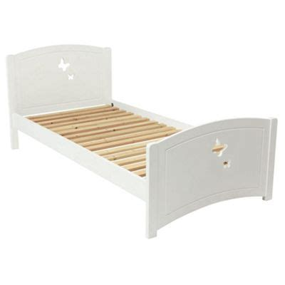 White Wooden Bed Frame Single Buy Butterfly Single Wooden Bed Frame White From Our Wooden Bed Frames Range Tesco
