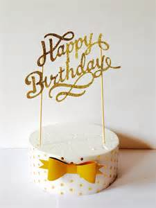 gold happy birthday cake topper fancy cake topper1st
