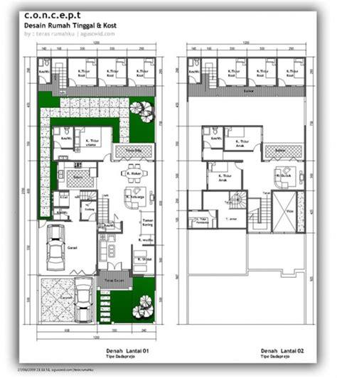 membuat layout rumah online rumah tinggal dan rumah kost di lahan 12x27 m2 aguscwid