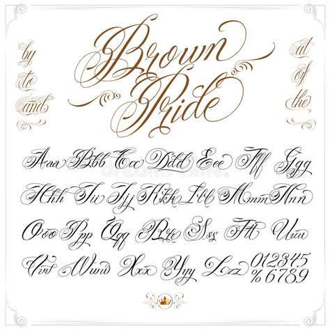 tattoo fonts vector brown pride font set stock vector illustration of