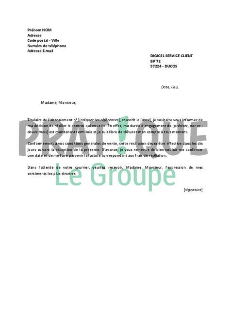 Resiliation Lettre Loisirs Lettre De R 233 Siliation Digicel Pratique Fr