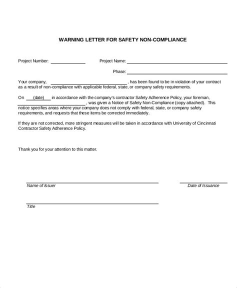 dot and policy template 8 safety warning letter templates free sle exle