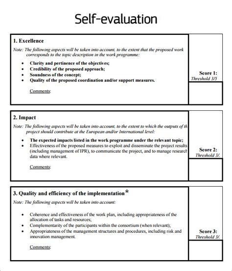 Self Evaluation 9 Download Free Documents In Pdf Self Performance Review Template