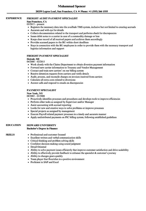 Specialist Resume by Payment Specialist Resume Sles Velvet