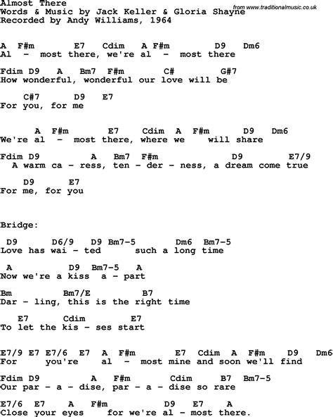 song lyrics with guitar chords for almost there andy