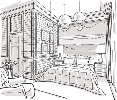 bedroom design drawings bedroom interior outline vector sketch drawing stock