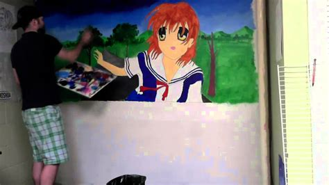 acrylic painting anime anime wall painting clannad in acrylics