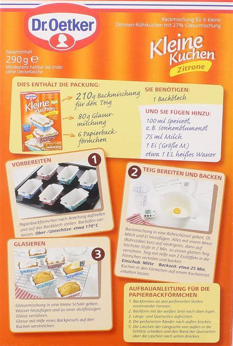 dr oetker kuchen backmischung dr oetker kleine kuchen schokino backmischung 245g