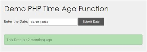 Php Format Date Days Ago | php time ago function