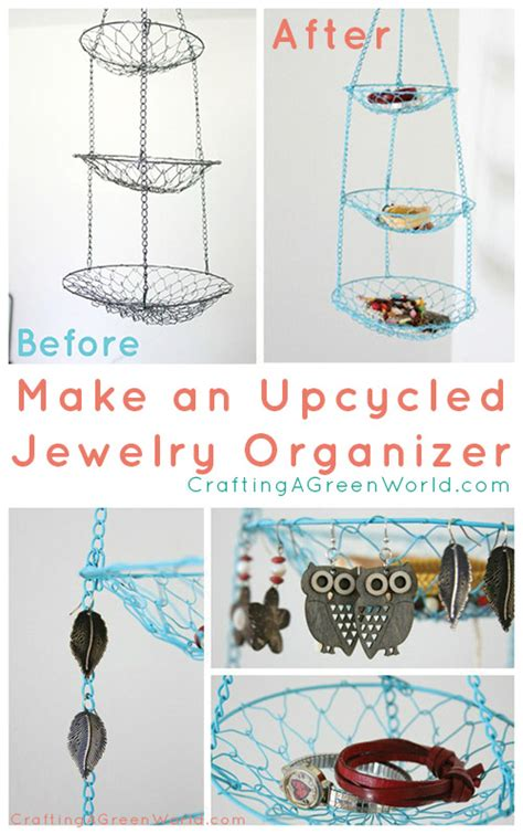 Craft Ideas For Bathroom Diy Jewelry Storage From A Hanging Fruit Basket