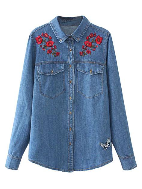 Embroidery Denim Shirt blue embroidery floral pocket sleeve denim shirt choies
