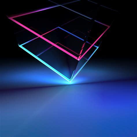 wallpaper cube  neon blue light htc   stock
