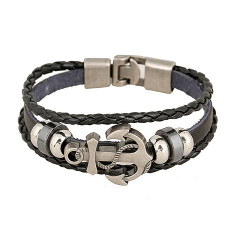 Woven Leather Bracelet With Charms White Amourjoux Handmade Retro Leather Woven Anchor Charm