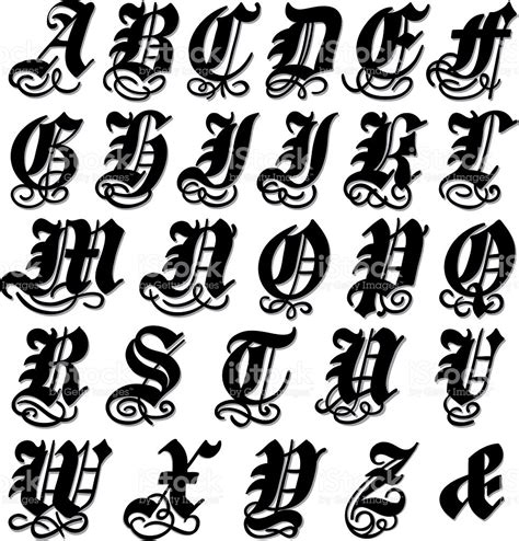 complete gothic alphabet stock vector art amp more images of
