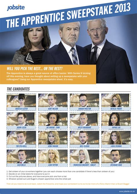 Apprentice Sweepstake - the apprentice sweepstake 2013 worklife jobsite