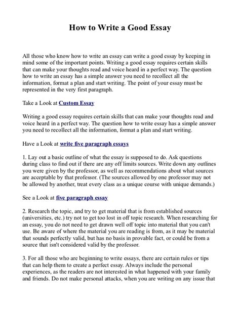 Write And Essay by How To Write A Essay