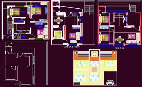 Row House Floor Plan plan dwg maison moderne gratuit