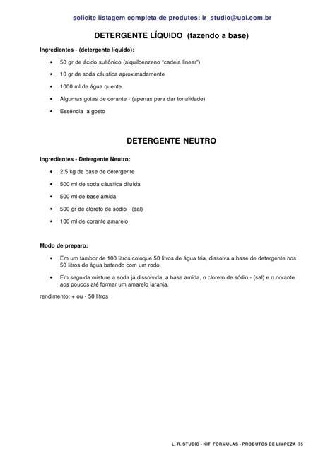 Kit formula como fabricar produtos de limpeza em casa