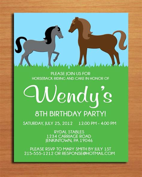 printable birthday cards horse horse pony birthday party invitation cards printable diy