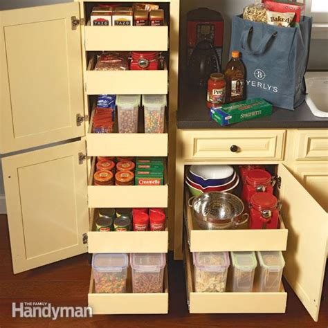 storage in kitchen cabinets kitchen storage cabinet rollouts the family handyman