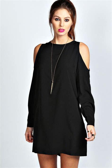 Open Shoulder boohoo womens jen solid colour open shoulder shift dress ebay