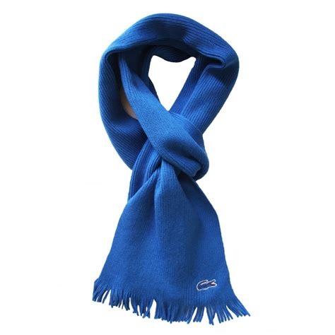 lacoste scarf light blue re7849 ribbed