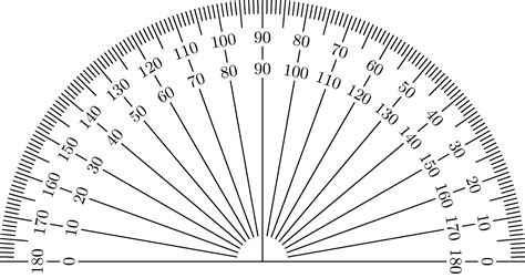 Printable Protractor | free coloring pages of black protractor
