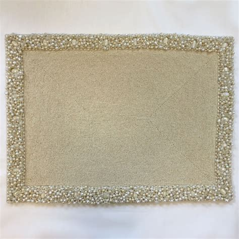 white beaded placemats rectangular beaded placemat nurit k designs