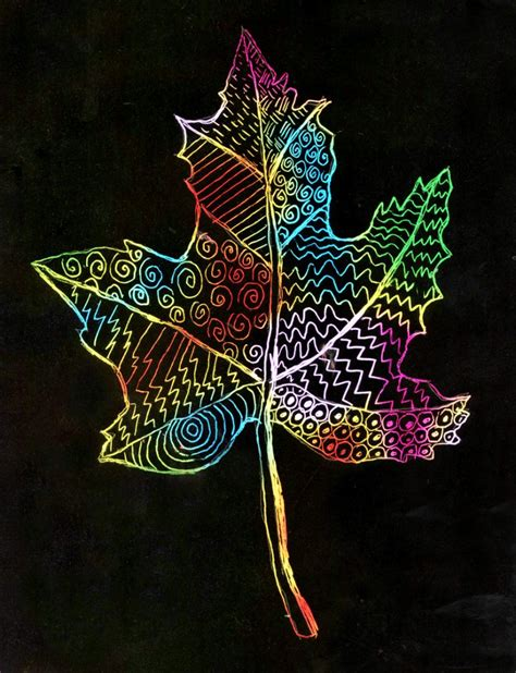 How To Make Scratch Paper With Acrylic Paint - scratch leaf projects for