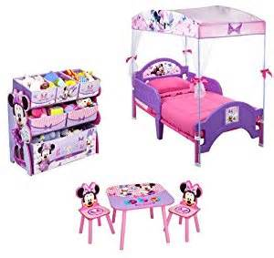 Toddler Minnie Mouse Bed Set Disney Minnie Mouse Quot Bows Quot Bedroom Set Toddler Bed W Canopy Organizer Table W Two Chairs
