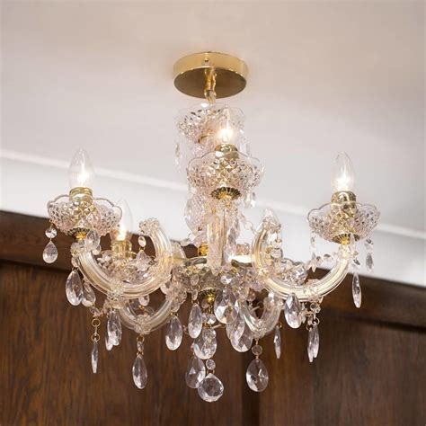 Marie Therese 5 Light Dual Mount Chandelier   Gold from