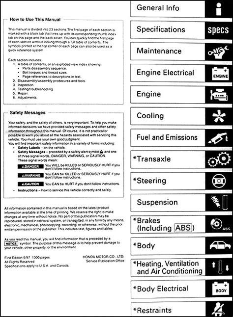 1998 2002 honda accord body repair shop manual original