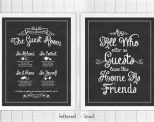 Guest Bedroom Quotes Guest Room Print Set Guide To Procedures And May All Who