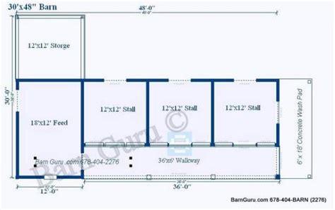 Horse Barn Floor Plans by 3 Stall Horse Barn Plan