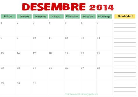 Calendario T Ara 2015 Cosir I Fer Olles De Desembre 2014