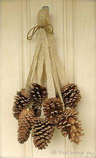Silver Cone Bells pine cone burlap jingle bell door hanger