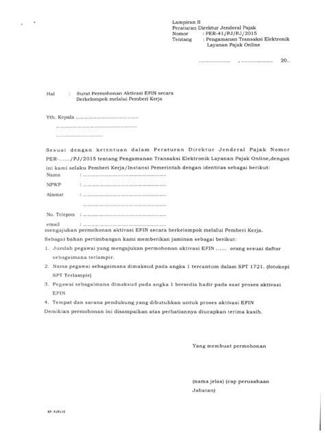 Contoh Surat Permohonan Efin Kolektif   Contoh surat