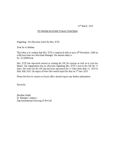 sample noc letter from employer no objection format property copy