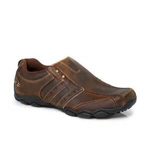 Mens Sneakers Shoes Skechers Heisman Brown Leather Mens Trainers Sneakers