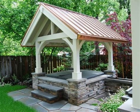 pergola over hot tub to protect from snow or rain and