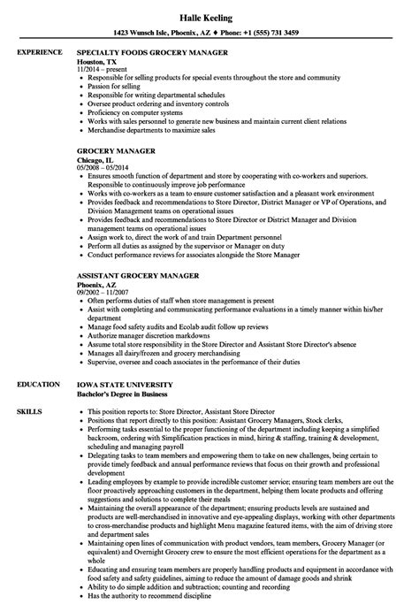 grocery manager resume sles velvet