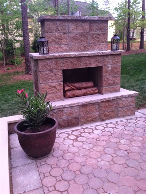 Outdoor Patio With Fireplace by In The House Diy Paver Patio And