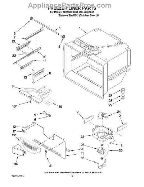 maytag refrigerator parts diagram parts for maytag mbr2258xes1 freezer liner parts