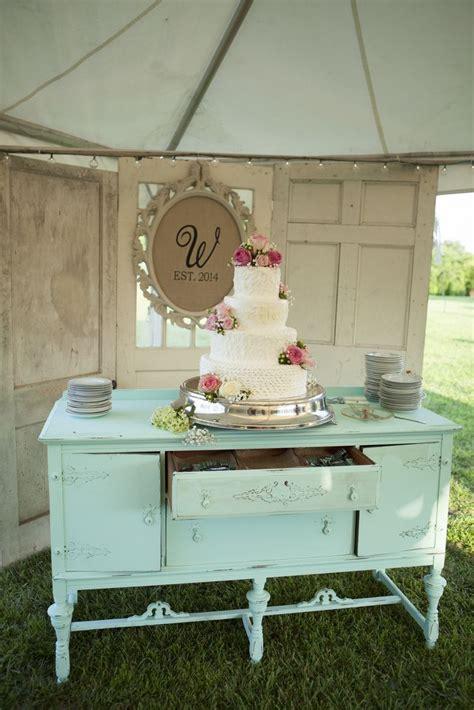 ivory wedding cake on vintage mint dresser mandy owens
