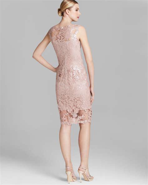 27858 Pink Lace Dress lyst tadashi shoji shoji dress sleeveless scalloped lace sheath in pink