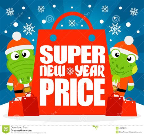 new year price new year price card with alligator and iguana stock