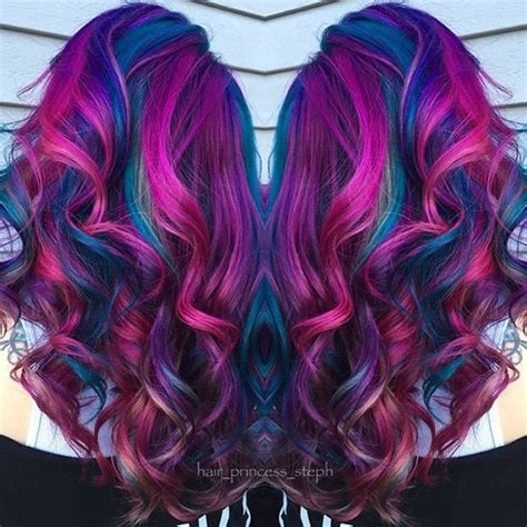 hair color and cut for 57 yrs beautiful fuchsia pink and blue mermaid hair hair nails