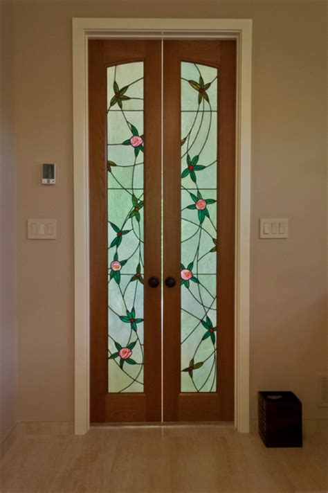 stained glass bathroom door art nouveau stained glass door light